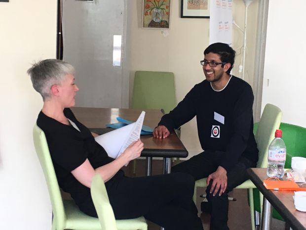 Young disabled in mock interview