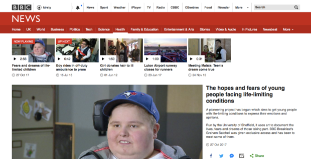 Screenshot of BBC News site with Living Life to the Fullest feature