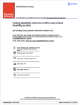Feeling Disability: Theories of affects and critical disability studies