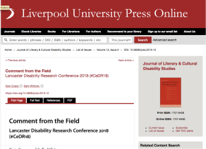 Image of the Journal of Literary and Cultural Disability Studies
